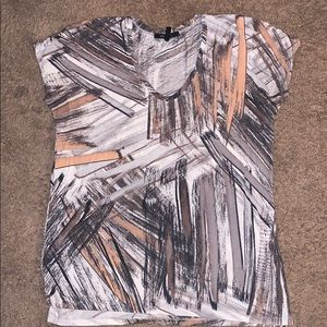 BCBG Abstract Painted Print Top. High-low.